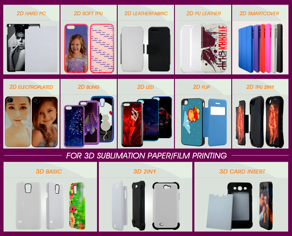 2D sublimation PC case for iphone 7