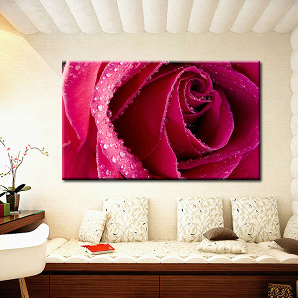 Romatic Red Rose Printed on 100% Cotton Canvas Artwork