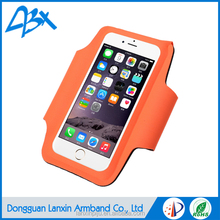 Wholesale outdoor fitness sports armband case, elastic lycra case for iphone 6s Plus with flap; Orange color