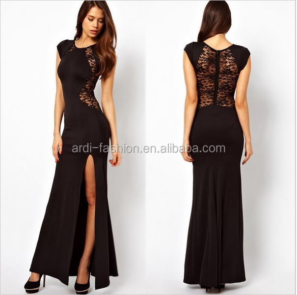sales side slit transparent back lace nightwear sexy night dresses