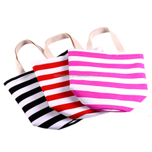 Durable striped cotton canvas tote bag for women shopping and outdoor beach