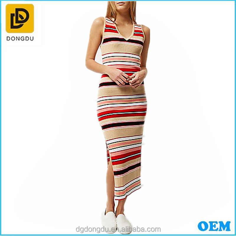 Pink stripe column long maxi open back side splits bodycon slim fit casual daily t shirt dress