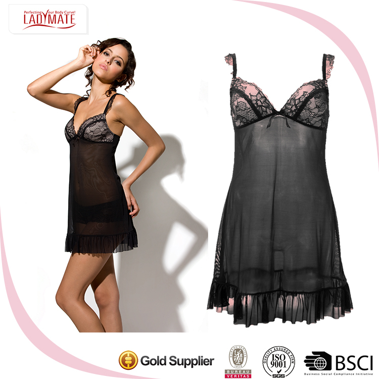 2018 Sexy Lady Hot New Design Silky Mesh Sleepwear mature ,Sheer Lace Ruffled Plus Size Babydoll Lingerie for Woman