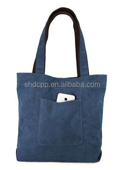 Factory price reusable cotton canvas tote bag with outsaide pockets, with button wholesale