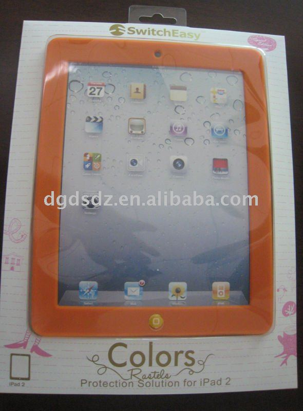 silicone skin case for ipad 2 with blister pack