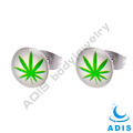 Round shaped women fashion stainless steel jewelry epoxy ear studs wholesale