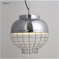 Silver Color Pendant Lamp Lantern Shape Iron Overhead Light for Hotel/Restaurant Decoration