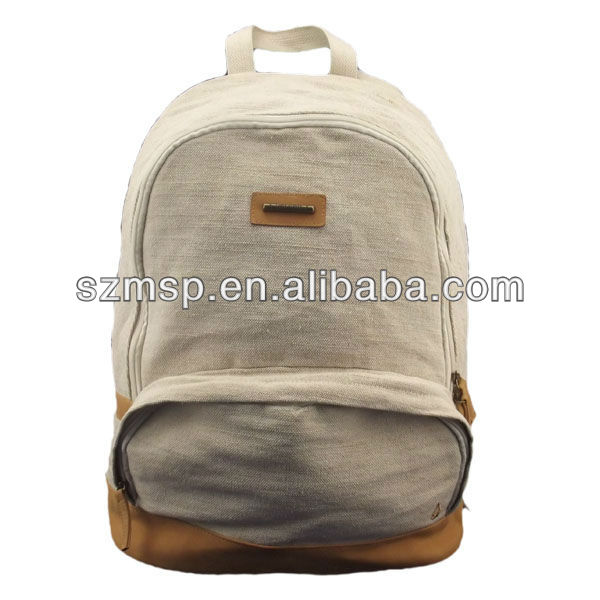 Eco-friendly natural canvas day backpack