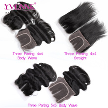 Wholesale free parting middle parting bleached knots 3 part silk base lace closure