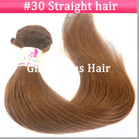 High Quality Color #30 Straight 18inch Unprocessed Virgin Brazilian Hair Weave #30 Color