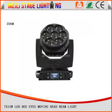 New stage lighting 7pcs 15watt mini Bee eye 4in1 RGBW zoom led moving head wash light/ LED bee eyes stage light