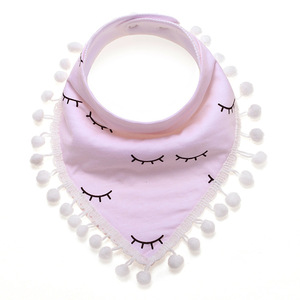 Baby bibs High quality triangle double layers cotton private label waterproof muslin Print baby bandana bibs