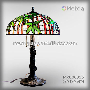 MX000015 wholesale bamboo stained glass desk lamp tiffany lamp shade for home decoration