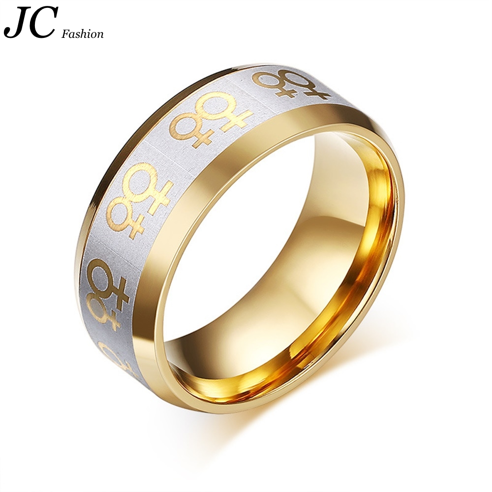 Stainless Steel lesbian Double Female Symbols on Gold IP rings