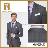 Handsome 2015 new grey plaid tailored suits for men