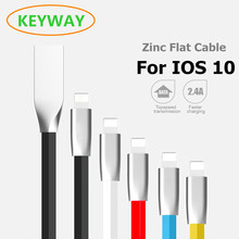 2017 Great Hot 2.4A Flat Zinc Alloy 8 Pin To USB Data Charger Cable For iPhone 7 6S / 6 Plus 5SE 5S 5C 5 iPod Nano ipadAir