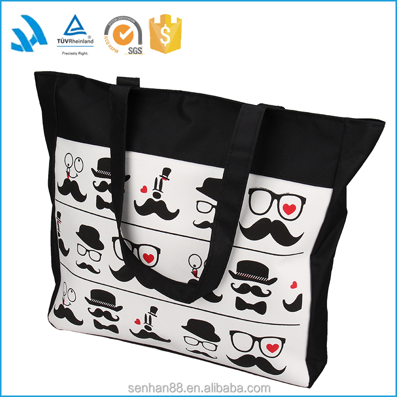 Funny pattern polyester handbag shopping tote bag