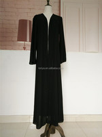 Wholesale new design abaya dubai black abaya fabric front open jubah islamic abaya