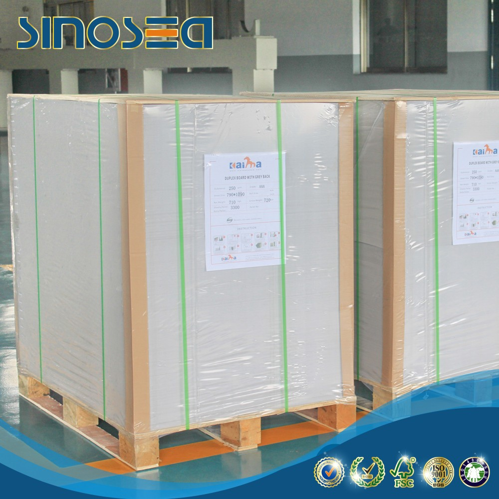 aaa,aa grade coated white duplex board with grey back paper price per kg/ton