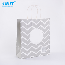 Professional wholesale custom white striped kraft paper bags with handles