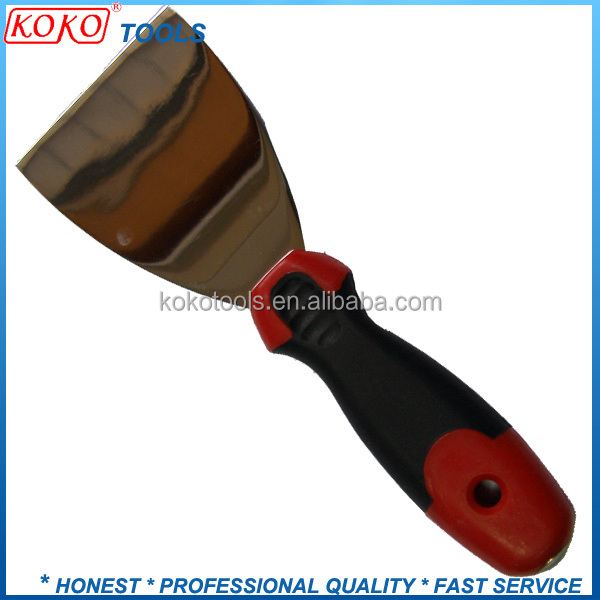 Mirror polished steel double color plastic handle putty scraper