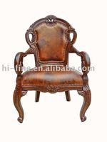 classic wood leather armchair