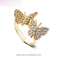 Adjustable two butterfly finger design for women saudi arabia gold wedding ring price