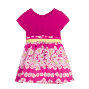 Hot sell fashion design flowers printed one year old baby dress with underwear