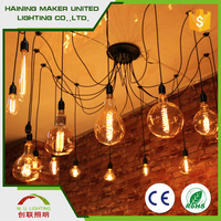 e27 Incandescent Light Bulb Vintage Edison Wall with Glass Bell Shade for Cafe Club