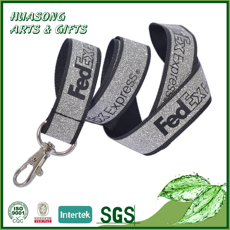 Custom supplies promotional polyester neck lanyard with glitter