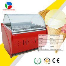 Most Popular Ice Cream Display Cooler/Italian Gelato Showcase/Hard Ice Cream Display Freezer