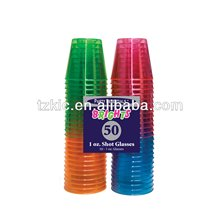 Assorted Neon Hard Plastic Shot Glass 1-Ounce Capacity