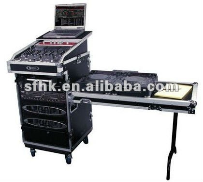 16U Rack case + Slant Mixer + Laptop stand + DJ Table