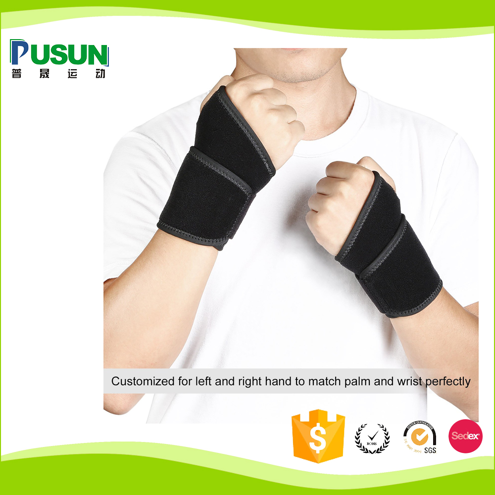 High Quality Neoprene WristBand support for sports (Black)