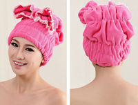 Factory directly supply lower lace shower cap,super-absorbent microfiber dry hair hat, Microfiber material