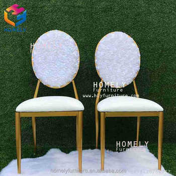 banquet hotel wedding dining modern design round back rose gold silver gold stainless steel chair