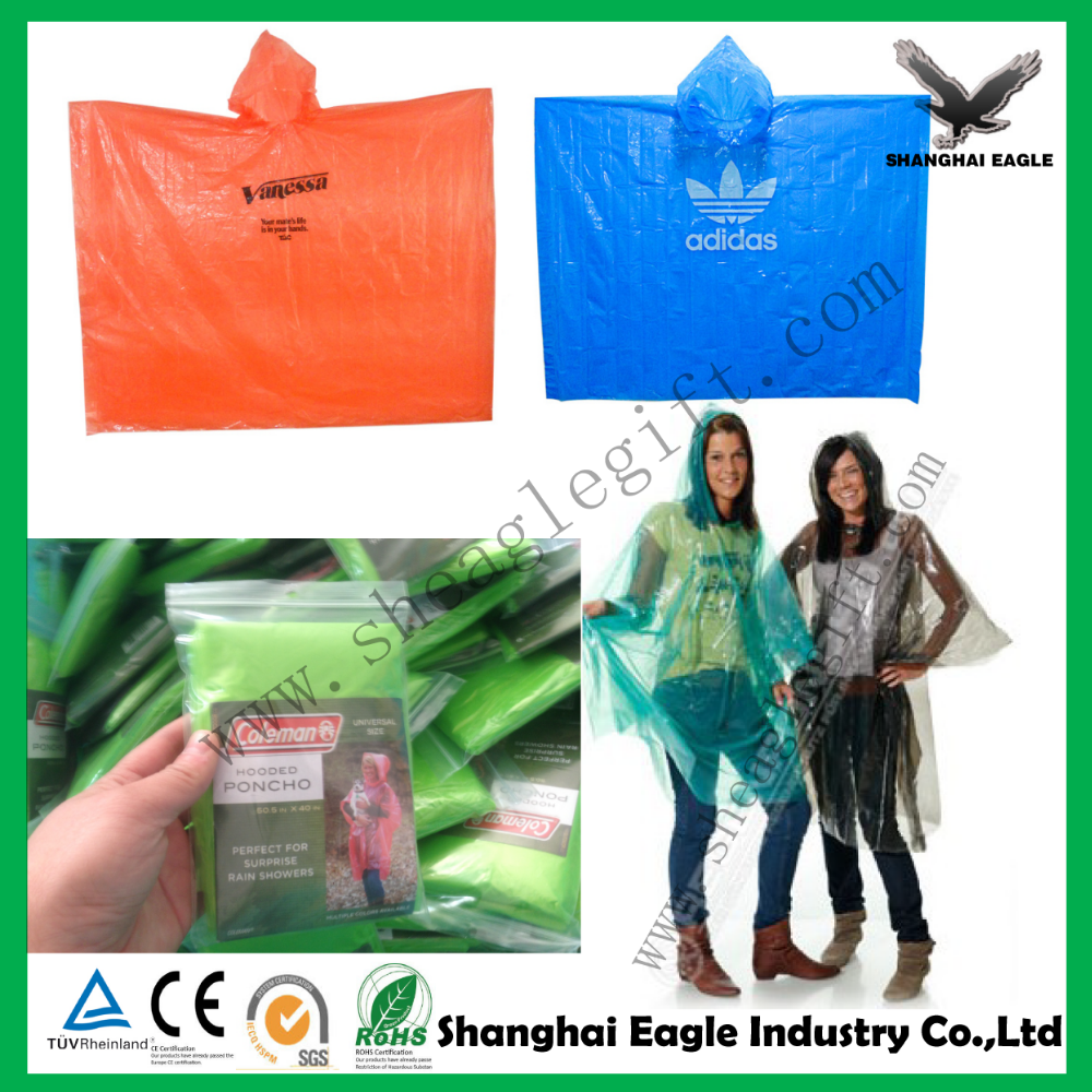 Logo Printed Advertising Disposable Hooded Rain Poncho