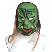 Scary green full face bucktooth cosplay halloween mask with long hair