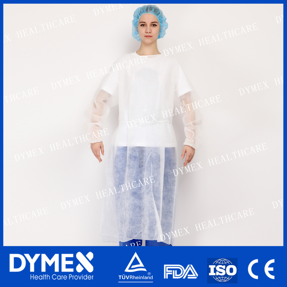 Spunbonded Polyproylene Stitched Welding Latex Free Isolation Gown with Elastic Cuff
