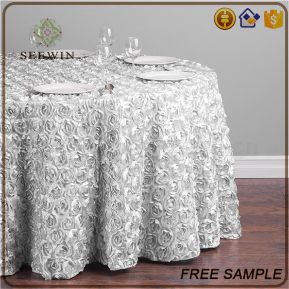 popular unique fitted silver fancy wedding table cloth