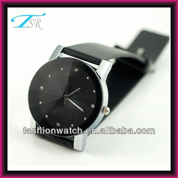 China factory direct sell good price couple wrist brand in black leather band 2013 new design watches