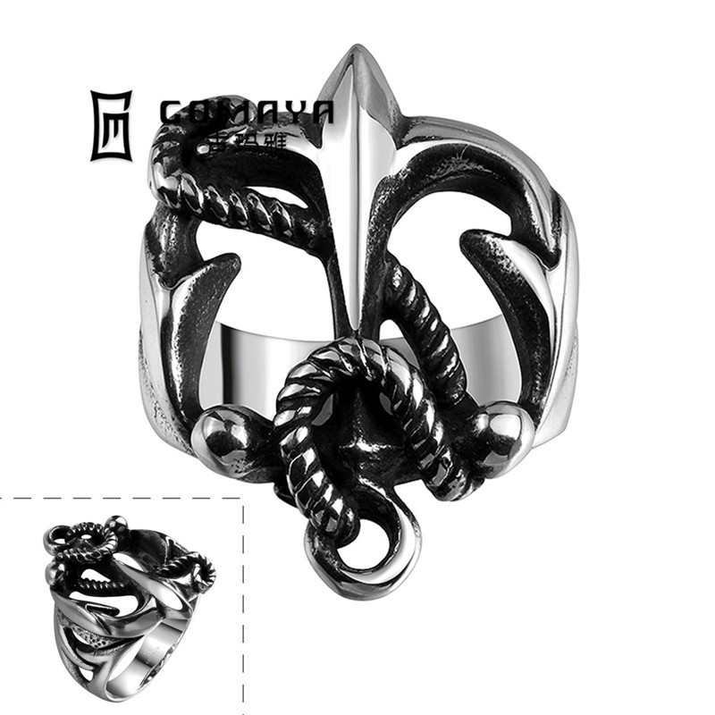 Stylish Anchor & Rope Design Stainless Steel 316L Nautical Band Ring