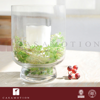 CASAMOTION High Quality Hand Blown Clear Glass Hurricane Cylinder Wicker Candle Holder