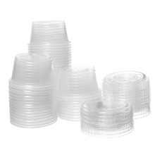 2oz Disposable Clear Plastic Portion Cups with Lids