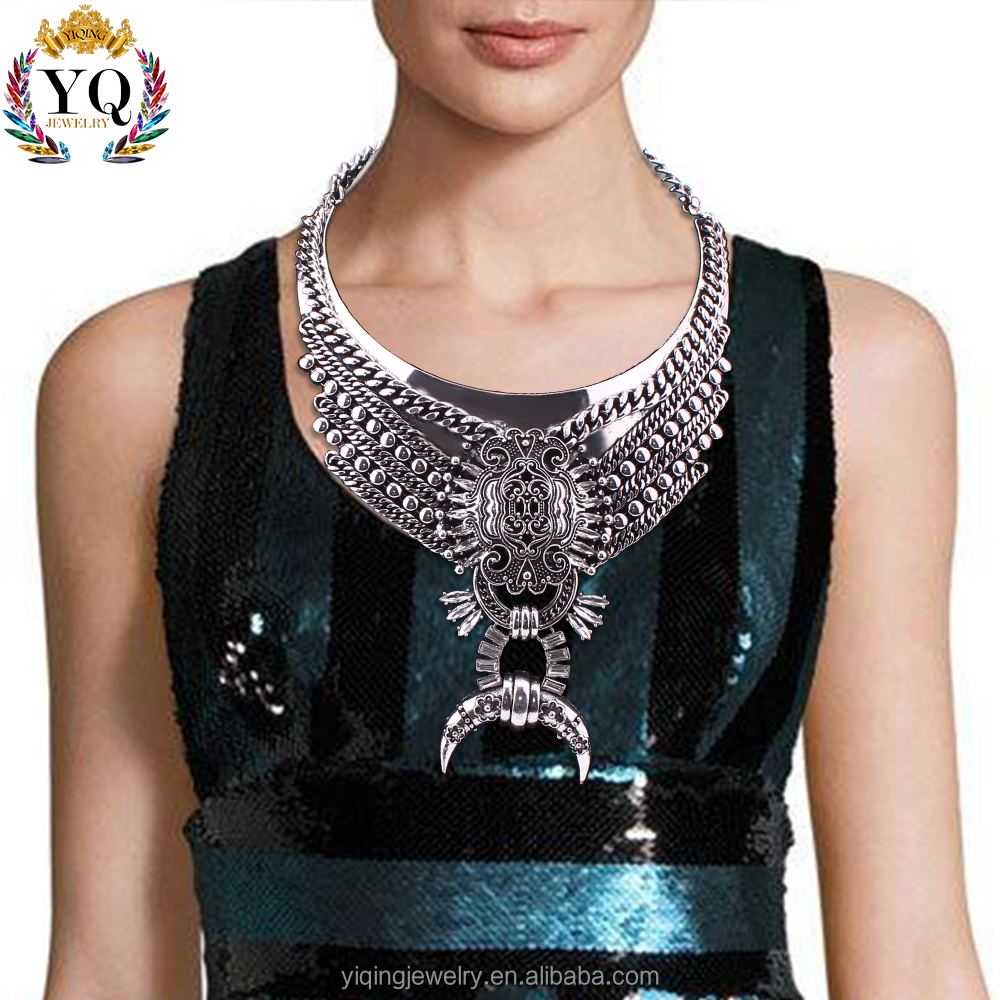 NYQ-00569 retro big fashion antique silver chunky horn with flower decorated alloy crystal bib statement necklace for women gift