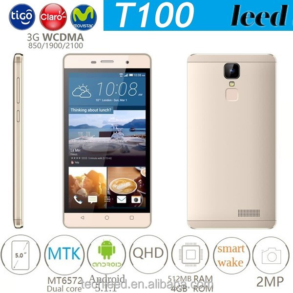 Cheap 3G WCDMA dual core quad band 5.0'' big screen smart movil telefono T100