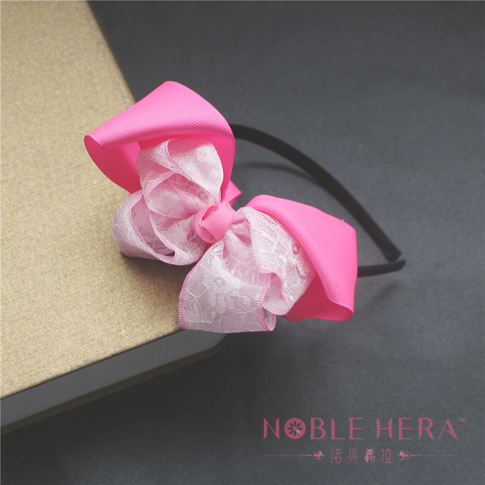 Knit Ladies Bow Headband With Flower When Festival Party