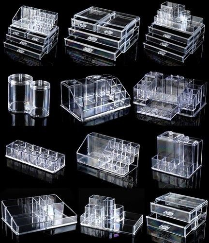 Cosmetic Organizer Acrylic Makeup case cotton pad case box lipstick holder clear