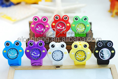 various designs cartoon frog slap band watches for children