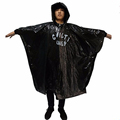 printing logo black disposable rain poncho / rain coat for any occasion